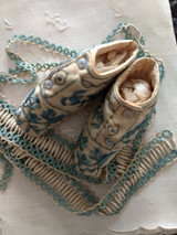 Civil War Baby Shoes Booties Hand Embroidery Silk Thread China Buttons