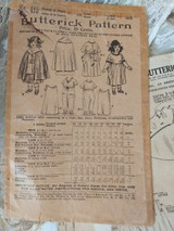 1900s  Doll Dress Pattern Dress Cape Underwear Butterick Original
