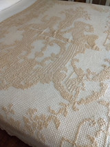 Edwardian 1920s Darn Knotted Net Fillet Coverlet Tablecloth Cherubs Handmade