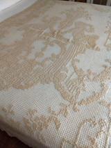 Edwardian 1920s Darn Knotted Net Fillet Coverlet Tablecloth Cherubs Handmade