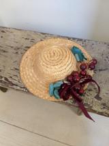 Doll Straw Hat Wide Brim  Cherry Berry Artificial Trim Vintage 1950 1960