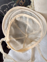 1930s Child Bonnet Organdy Wire Brim Unworn With Tag