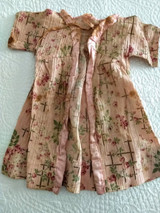 Vintage Doll Dressing Gown Robe Dress Pink Crinkle Cloth Flowers 1930s