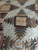 Antique Brown Calico Quilt Hand Quilting  Late Victorian 1900s American Pineapple