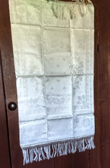 Victorian 1880 Towel Damask Linen Fringe Poppy Flower Unused Antique