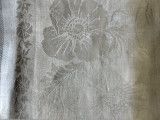 Victorian 1880 Towel Damask Linen Fringe Poppy Flower Unused Antique