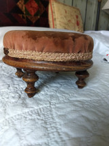 Antique Sewing Footstool Carriage Rest Victorian Walnut Upholstery
