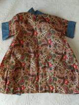 Doll Dress Chintz Paisley Cotton Robe Wrapper Edwardian 1900 Home Sewn