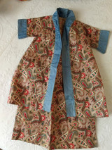 Doll Dress Chintz Paisley Cotton Robe Wrapper Edwardian 1900 Home Sewn