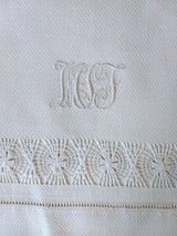 Victorian Hand Towel  Antique Damask Drawnwork Tenerife Lace Monogram