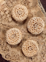 4 Antique Hand Crochet Buttons Dress Costuming Sewing Victorian 1900