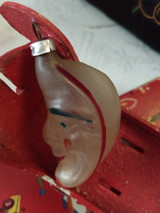Man In Moon Christmas Ornament Opaque Glass Vintage 1950 West Germany