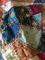 Antique Crazy Quilt Embroidery Wool Fabric Yarn Tied Comforter Charming