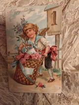 Antique 1900 New Year Postcard Victorian Lithograph Embossed Diecut  Boy Angel Blooms