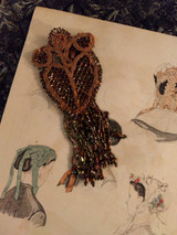Antique Beadwork Tassel Copper Colored Glass Beads Vintage 1920's