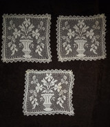 3 Darn Net Coasters Lace Insertions Doily Urn Flowers Vintage 1920s