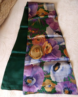 1920s Satin Flower Scarf Shaped Neck Line Antique Silk Rayon Costuming Accessory