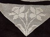 1930 1950 3 Hand Crochet Triangle Inset  Pillowcase Tablecloth Daffodil Flower