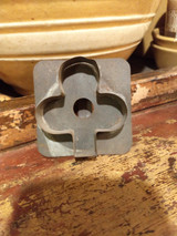 Antique 1900's Tin Cookie Cutter Club Shape Flat Back Primitive