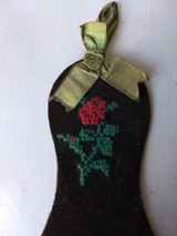 Victorian Sewing Shoe Wall Pocket Holder Wool Berlin Embroidery 1870 1880