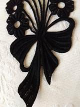 Black Applique Flower Dress Costume Sewing Vintage 1940