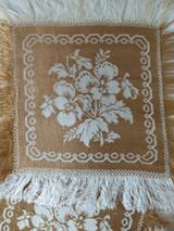 Victorian 1880 Doily Woven Silk Jacquard Fringe 8 Flower Swan Fruit