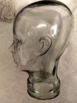 Vintage Glass Head Millinery Hat Display Stand 1960s