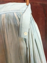 1900s Long Blue and White Apron Cotton  Button Waist Edwardian Stripe Fabric