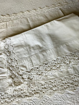Victorian 1900s Pillow Shams Hand Crochet Lace Edge Oblong Layover Style