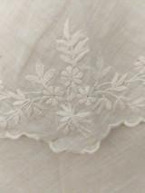 Antique Fichu Fine Muslin Hand Embroidery Scarf Shawl Antique 19th Century