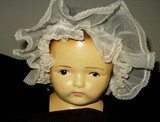 Antique Victorian Edwardian 1900 Organdy Ruffle Baby Bonnet