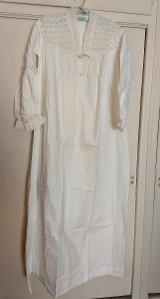 Edwardian Nightgown White Cotton Eyelet Yoke Long Sleeves Silk Ribbon Vintage Sleepwear