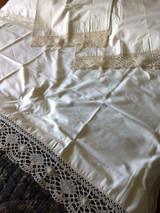 Pair Vintage Pillowcases Bobbin Matching Sheet Bolster Cover Lace Trim Tie Closure Edwardian Unused