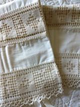 Antique Pair Pillowcases Crochet Filet Trim Tie Ends 1900's Edwardian