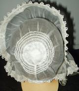 Antique Vintage Edwardian 1920s Organdy Irish Crochet Lace Baby Bonnet