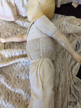 Antique Wax Head Doll Cloth Body Paper Mache Comp Arms Legs 1890