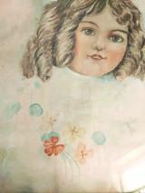 Antique Pastel Drawing Girl Victorian Girl On Paper Gilt Frame Original