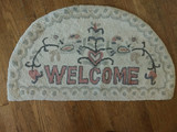 Vintage Hooked Rug Heart Partridge Welcome 1900 Antique