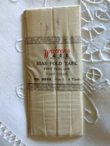 Vintage Warrens Bias Fold Tape Original Wrapper White Cotton 1920s
