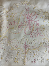 Victorian Bed Sheet Home Sewn Embroidery Monogram D J Eyelet Edge Yellow Pink Motif
