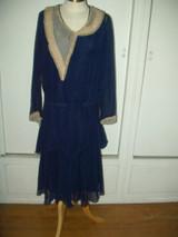 1930s Chiffon Woman Dress Ruffle Lace Trim Vintage Day Apparel Fashion