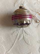 1920s Feather Tree Christmas Ornament Silver Glass Stars Cross