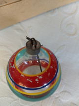 Vintage Christmas Tree Ornament 1940s  Clear Colored Glass Stripes
