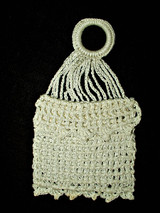 Antique Vintage Hand Crochet Lace  Coin Purse Bag