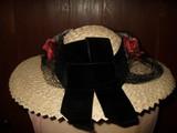 Vintage Wide Brim Straw Hat  Pink Cabbage Roses Black Veil 1930's 1940's