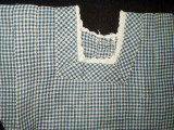Early 1900 Country Blue and White Check Homespun Doll Dress
