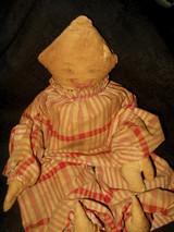 Old Original Victorian Country Primitive Cloth Clown Rag Doll
