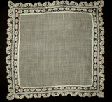 Antique Vintage Tape Lace Edge Lawn Handkerchief