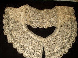 Antique 19th Century Victorian Handmade Silk Maltese Bobbin Lace Collar