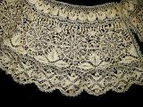 Antique 19th Century Victorian Handmade Silk Maltese Bobbin Lace Collar